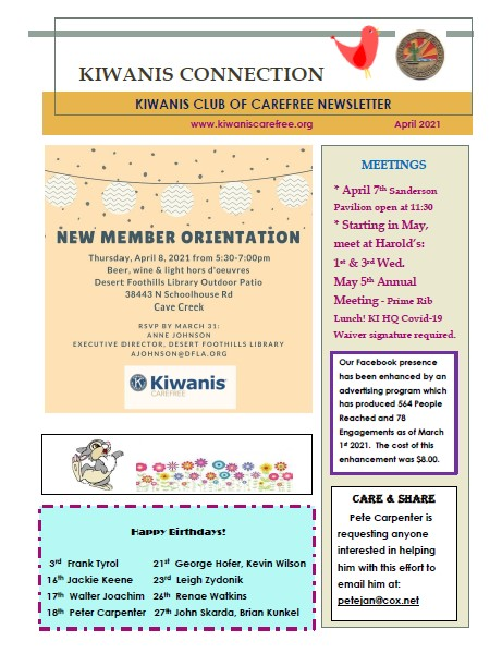Kiwanis Club of Carefree April 2021 Newsletter