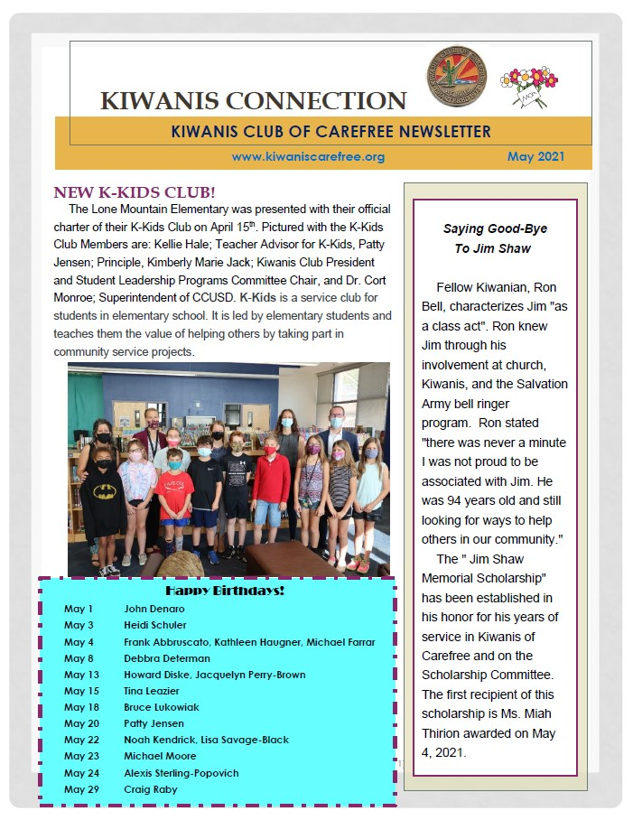 Kiwanis Club of Carefree May 2021 Newsletter